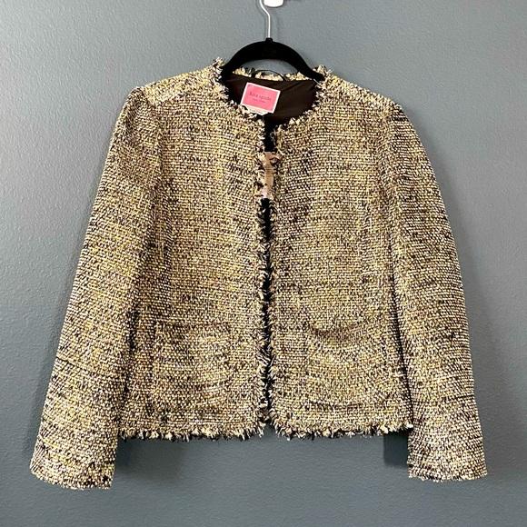 Kate Spade ♠️ gold metallic tweed jacket blazer 8